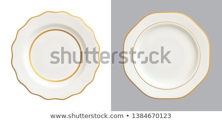 White porcelain plate with decorative rim Stock photo © Digifoodstock