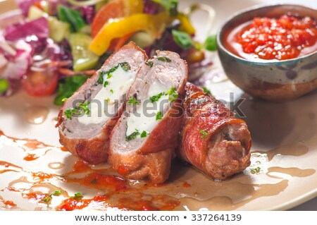 steamed pork and vegetable cabbage rolls with sweet chili sauce stock photo © monkey_business