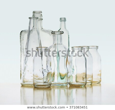 Blauw fles water lege glas geïsoleerd Stockfoto © kayros