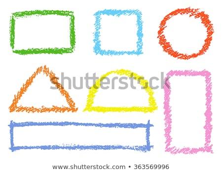 Crayon square frame isolated on white Stock photo © pakete
