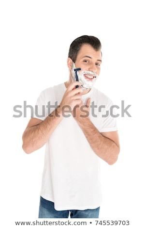 Jóképű férfi izolált fehér férfi boldog modell Stock fotó © Elnur