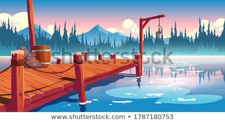 リラックス 木製 桟橋 男 脚 ストックフォト © stevanovicigor