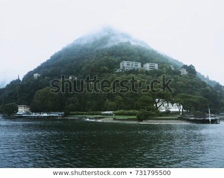 binalar · göl · ağaçlar · gökyüzü · bulutlar · Bina - stok fotoğraf © artlover