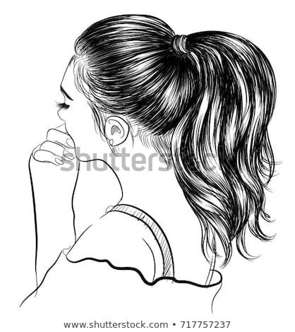 Divat nő lófarok barna hajú vonzó lány tart Stock fotó © artfotodima