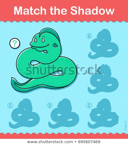 Kids puzzle game to Match the Shadow of a snake Stock photo © adrian_n
