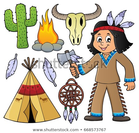 Native American boy and various objects Stock photo © clairev