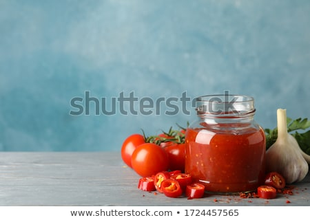 Stock photo: Tomato ketchup, chilli sauce, tomatos puree with chili pepper, tomatoes and garlic