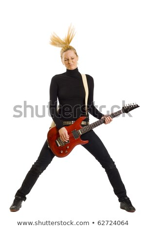 cool headbanging rock and roll woman playing electric guitar stock photo © feedough