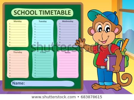 Heti iskola időbeosztás könyv idő fiatal Stock fotó © clairev