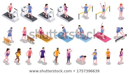 Izometrikus sportruha szett sportcipők dobozok sportok Stock fotó © Genestro