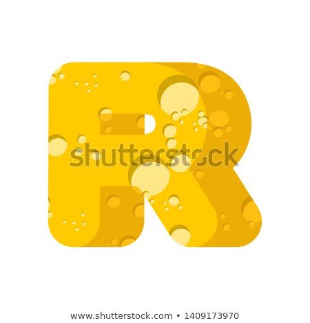 Letter R cheese font. Symbol of cheesy alphabet. Dairy Food type Stock photo © popaukropa