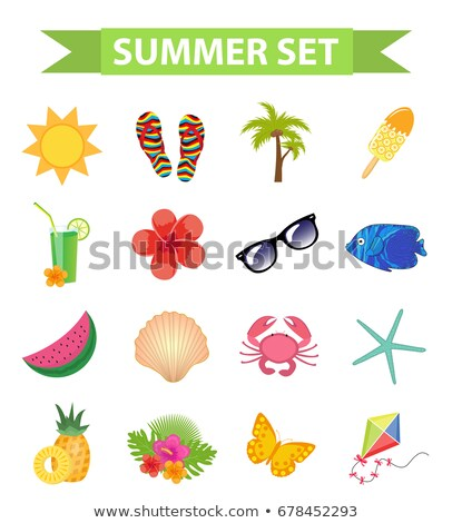 Hello summer icon set, flat, cartoon style. Beach, vacation collection of design elements. Isolated  Stock photo © lucia_fox