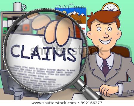 Stockfoto: Beweren · vergrootglas · doodle · papier · hand · gekleurd