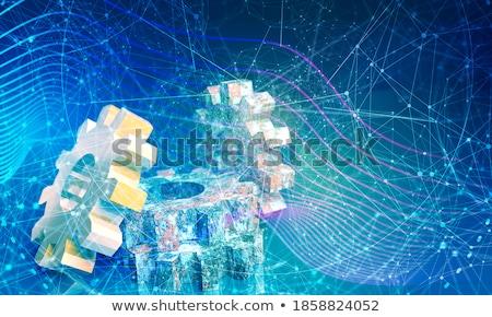 Fabrico linha dourado engrenagens 3D mecanismo Foto stock © tashatuvango