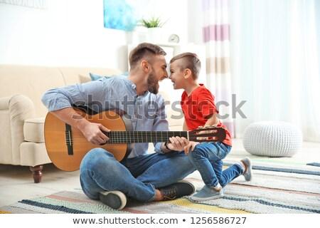 baba · oğul · oynama · gitar · oğul · dikey · atış - stok fotoğraf © is2