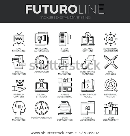Digitális tabletta üzenet vonal ikon sarkok Stock fotó © RAStudio