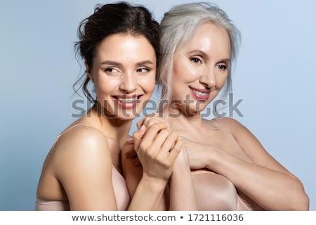 Portret opgewonden meisje ondergoed glas Stockfoto © deandrobot