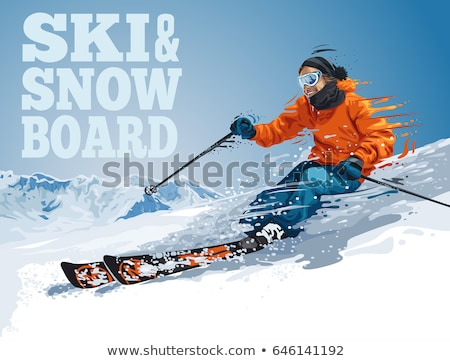 Winter Sport. Ski and Snowboard. Mountain landscape with snowboarder. Vector illustration. Stock photo © Leo_Edition