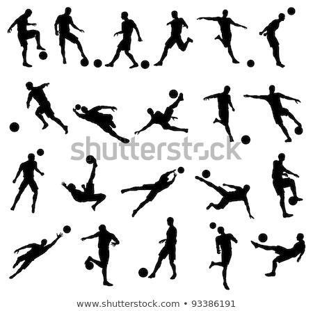 futbolista · silueta · hijo · de · padre · jugando · fútbol · ninos - foto stock © krisdog
