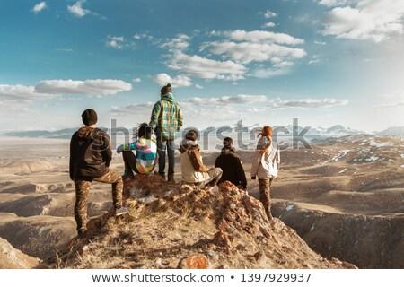 Woman hiker looking at view, backpacker adventure stock photo © blasbike