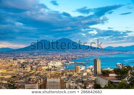 Napoli Cityscape İtalya ufuk çizgisi gün batımı ışık Stok fotoğraf © joyr