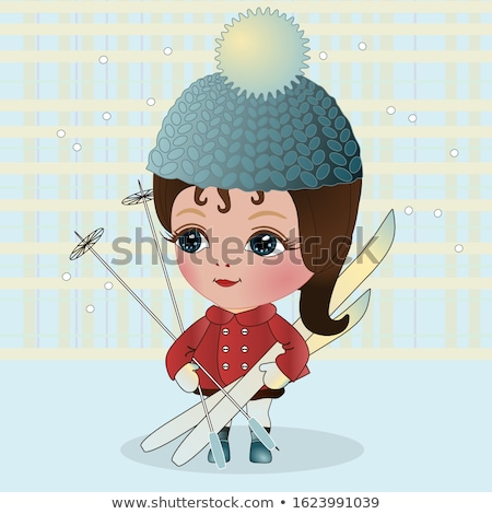 woman holding skis vector illustration stock photo © rastudio