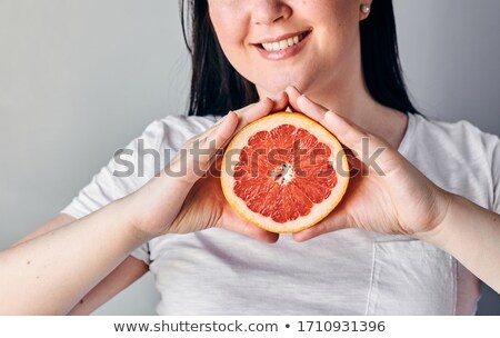 взрослый · женщину · еды · свежие · грейпфрут · продовольствие - Сток-фото © is2