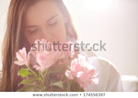 Foto stock: Mujer · flores · flor · belleza · verano