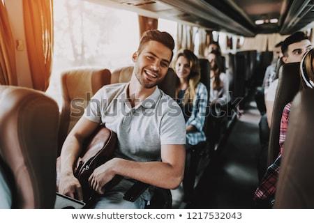 Yakışıklı adam seyahat otobüs bakıyor pencere köpek Stok fotoğraf © wavebreak_media