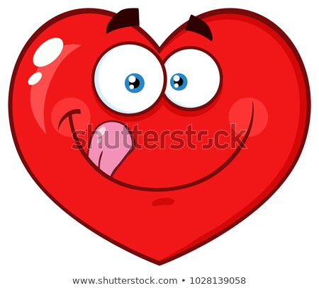 Hungry Red Heart Cartoon Emoji Face Character Licking His Lips Stock photo © hittoon