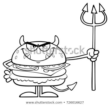 Siyah beyaz öfkeli şeytan Burger Stok fotoğraf © hittoon