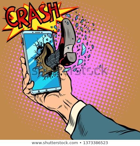 Hacking telefoon been smartphone scherm pop art Stockfoto © studiostoks