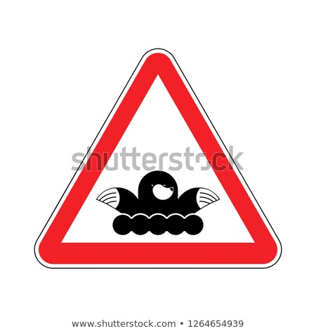 Attention mole. Warning shrew. Red prohibitory sign. Pest Farm Stock photo © popaukropa