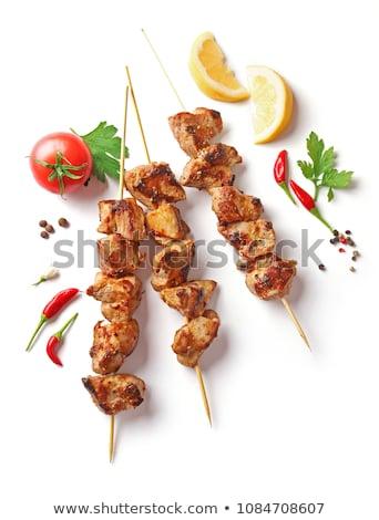 Marhahús nyárs marinált fehér háttér vacsora Stock fotó © M-studio