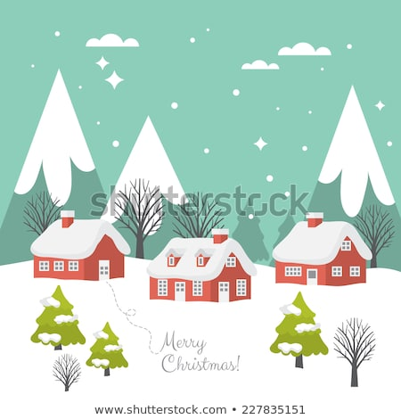 Paisagem pinheiro neve cidade ilustração rural Foto stock © lenm