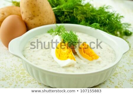 aardappelsoep · eigengemaakt · vegetarisch · spek · geserveerd · Italiaans - stockfoto © glorcza