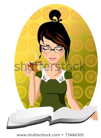 nő · olvas · könyv · kávézó · gyönyörű · mosolyog - stock fotó © snowing