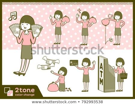 Tip düz saç bluz para kadın Stok fotoğraf © toyotoyo