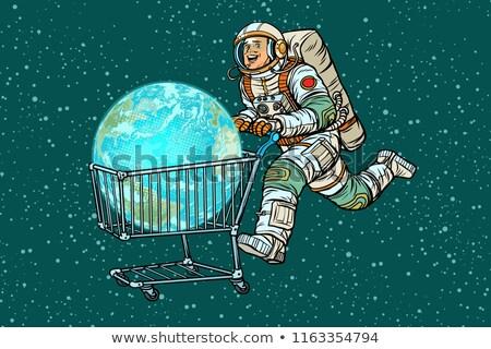 Planeten Erde gekauft Astronaut Warenkorb Verkauf Pop-Art Stock foto © studiostoks