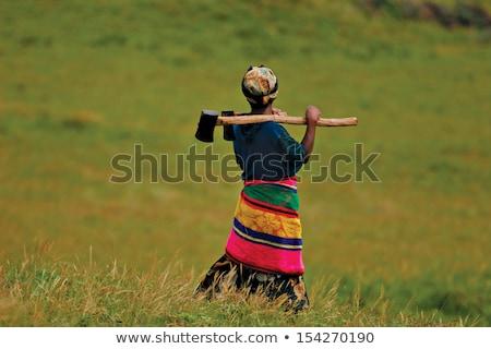 Trabalhando mulher machado retro vintage Foto stock © studiostoks