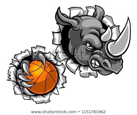 Rhino баскетбол мяча животного спортивных Сток-фото © Krisdog