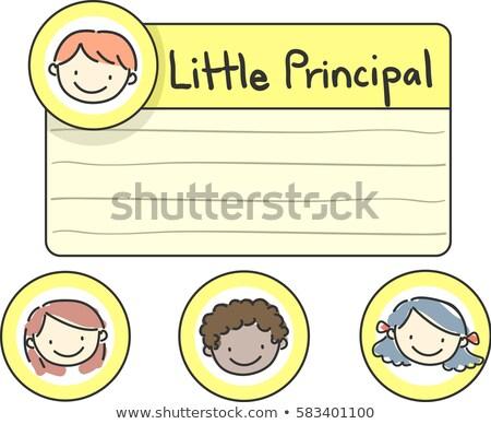 Stickman Kids Little Principal Label Stock photo © lenm