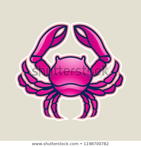 magenta glossy crab or cancer icon vector illustration stock photo © cidepix