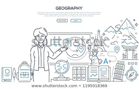 Geografia lição colorido linha projeto estilo Foto stock © Decorwithme