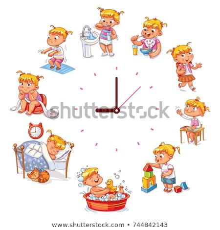 Számlap oktatási tevékenység gyerekek feketefehér rajz Stock fotó © izakowski