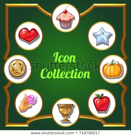 Díszített poszter gyűjtemény ikonok vektor rajz Stock fotó © Lady-Luck