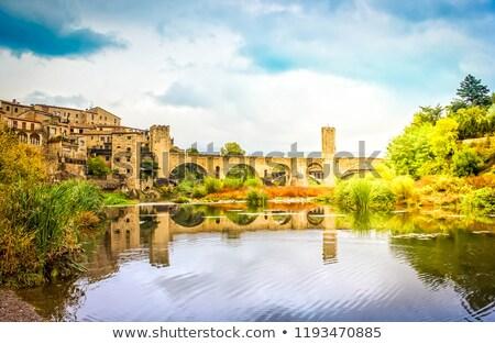 most · rzeki · drzewo · miasta · niebieski · wieża - zdjęcia stock © neirfy