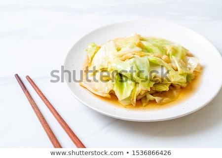 フライド キャベツ キノコ トマトソース 食品 朝食 ストックフォト © tycoon