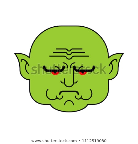 goblin grumpy green troll face angry org head vector illustrat stock photo © maryvalery