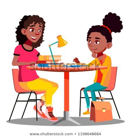 Stockfoto: Afro · amerikaanse · moeder · kind · school · huiswerk